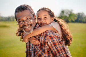 Grand-father and grand-daughter on respite break