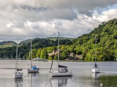 Sailboats in marina, Windermere at Bowness.